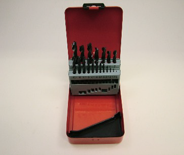 HSS roll-forged set in red metal box. 19 drills,