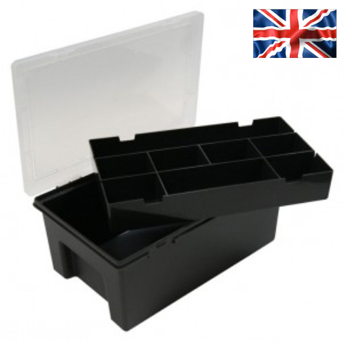 Organiser Box With Lift-Out 8 Division Tray (Black)