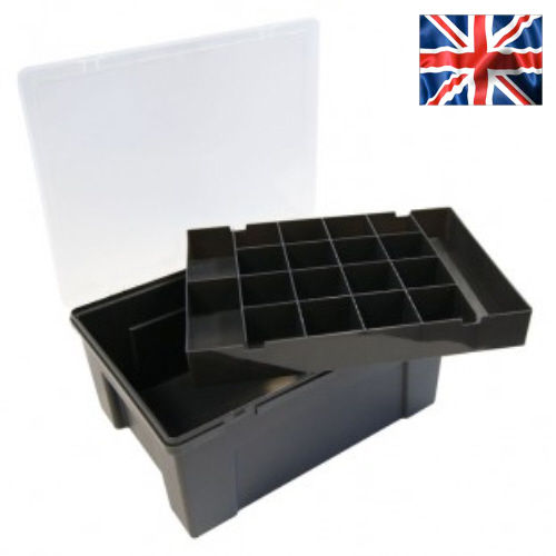 Organiser Box With 19 Division Lift-Out Tray (Black)