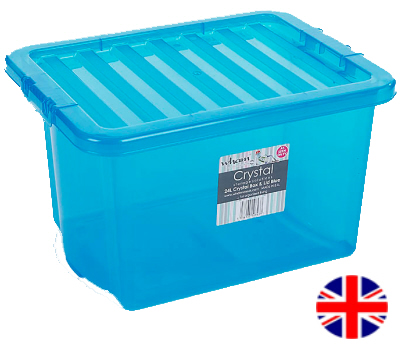 Storage Box With Lid, 24 Litre (Blue)
