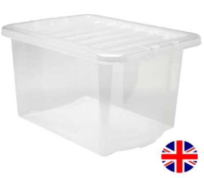 Storage Box With Lid, 24 Litre (Clear)