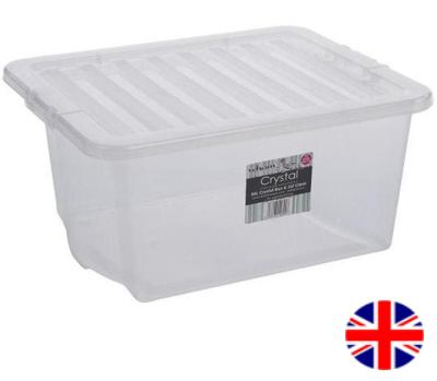 Stacking Storage Box, 35 Litre (Clear)