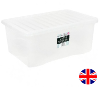 Stacking Storage Box, 45 Litre (Clear)