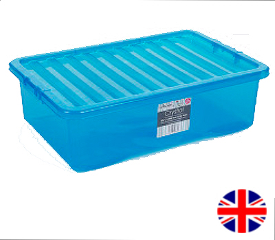 Under Bed Storage Box With Lid, 32 Litre (Blue)