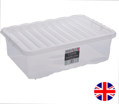 Under Bed Storage Box With Lid, 32 Litre (Clear)