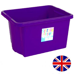 Stacking Storage Box, 30 Litre (Purple)