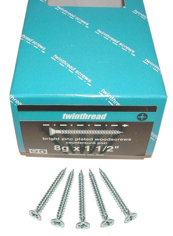 Twin-Thread BZP Woodscrews 12 x 4""